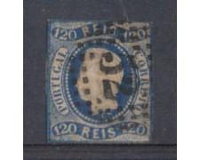 1866 - LOTTO/9624UA - PORTOGALLO - 120r. AZZURRO - USATO