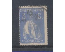 1917 - LOTTO/9666EAU - PORTOGALLO - 3c. OLTREMARE - USATO