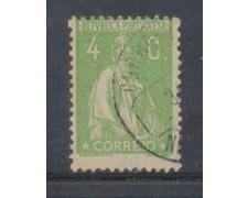 1917 - LOTTO/9666GBU - PORTOGALLO - 4c. VERDE GIALLO - USATO
