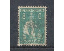 1917 - LOTTO/9666MU - PORTOGALLO - 8c. VERDE AZZURRO - USATO