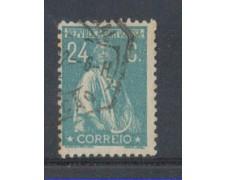 1917 - LOTTO/9666UU - PORTOGALLO - 24c. VERDE AZZURRO - USATO