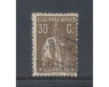 1917 - LOTTO/9666VBU - PORTOGALLO -  30c. BRUNO - USATO