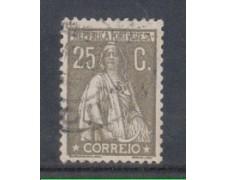 1925 - LOTTO/9676DU - PORTOGALLO - 25c. GRIGIO - USATO