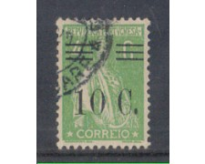 1928 - LOTTO/9682FU - PORTOGALLO - 10c. SU 4c. VERDE - USATO