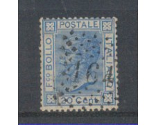 1867 - LOTTO/REGT26U - REGNO - 20c. AZZURRO - TIR.TORINO - USATO