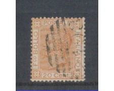 1877 - LOTTO/REG28U - REGNO - 20c. OCRA ARANCIO - USATO
