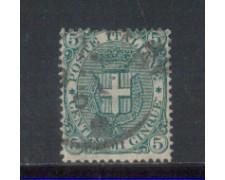 1891 - LOTTO/REG59U - REGNO - 5c. VERDE STEMMA - USATO