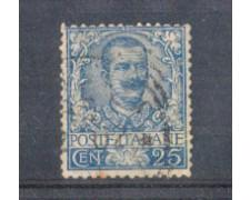 1901 - LOTTO/REG73U - REGNO - 25c. AZZURRO FLOREALE - USATO