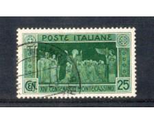 1929 - LOTTO/REG263U - REGNO - 25c. MONTECASSINO - USATO