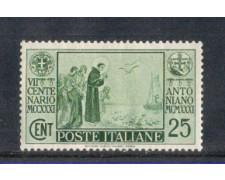 1931 - LOTTO/REG293N - REGNO - 25c. S.ANTONIO - NUOVO