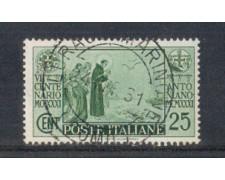 1931 - LOTTO/REG293U - REGNO - 25c. S.ANTONIO - USATO