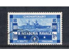 1931 - LOTTO/REG302U - REGNO - 1,25 L. ACCADEMIA NAVALE - USATO