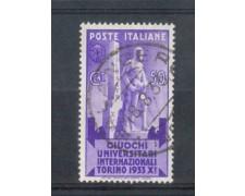 1933 - LOTTO/REG343U - REGNO - 50c. GIUOCHI UNIVERSITARI - USATO