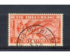 1936 - LOTTO/REG394U - REGNO - 20c. FIERA DI MILANO - USATO