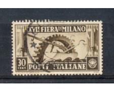1936 - LOTTO/REG395U - REGNO - 30c. FIERA DI MILANO - USATO