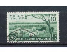 1936 - LOTTO/REG398U - REGNO - 10c. BIMILLENARIO  ORAZIO - USATO
