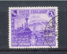 1939 - LOTTO/REG450U - REGNO - 50c. CENTENARIO FERROVIE - USATO