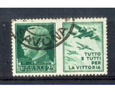 1942 - LOTTO/REGPG3U - REGNO -25c. PROPAGANDA AERONAUTICA- USATO