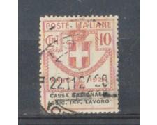 1924 - LOTTO/REGSS18U - REGNO - 10c. CASSA INF. LAVORO - USATO