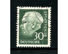 1957/60 - GERMANIA FEDERALE - 30p. PRESIDENTE HEUSS  CARTA FLUORESCENTE - USATO - LOTTO/30799