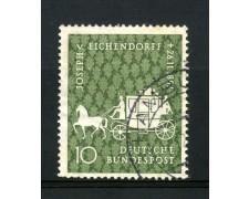 1957 - GERMANIA FEDERALE - 10p. VON EICHENDORFF - USATO - LOTTO/30821U