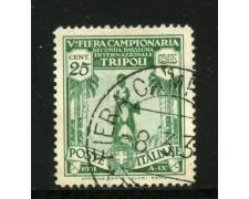 1931 - LIBIA - 25c. FIERA DI TRIPOLI - USATO - LOTTO/31632U