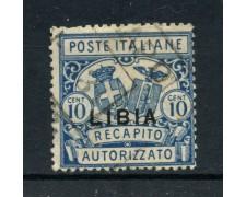 1929 - LIBIA - 10c. RECAPITO AUTORIZZATO - USATO - LOTTO/30206