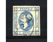1863 - REGNO - 15 cent. EFFIGIE  LITOGRAFICA DI VITT. EMANUELE II°  I° TIPO - USATO - LOTTO/30155