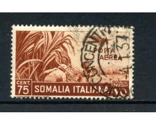1936 - SOMALIA - 75c. POSTA AEREA PITTORICA - USATO - LOTTO/30210