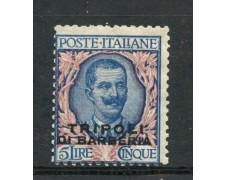 1909 - TRIPOLI DI BARBERIA - 5 LIRE FLOREALE - LING. - LOTTO2212A