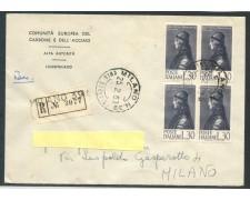 1963 - REPUBBLICA - 30 Lire PICO DELLA MIRANDOLA  BUSTA RACCOMANDATA FDC - LOTTO/28994
