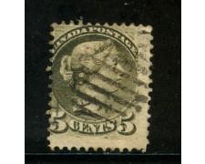 1870/93 - CANADA - 5 cent. GRIGIO VERDE - USATO - LOTTO/29085