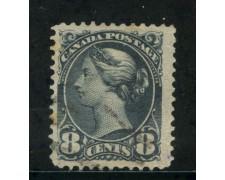 1870/93 - CANADA - 8 cent. BLU GRIGIO - USATO - LOTTO/29088