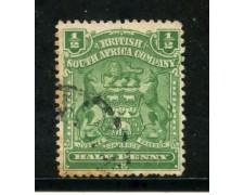 1898/908 - SUD AFRICA INGLESE - 1/2p. VERDE STEMMA - USATO - LOTTO/29098