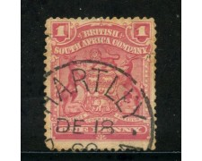 1898/908 - SUD AFRICA INGLESE - 1p. ROSA STEMMA - USATO - LOTTO/29099