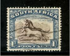 1930/36 - SUD AFRICA INGLESE - 1s. BLU GNU - USATO - LOTTO/29103