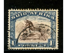 1927/28 - SUD AFRICA INGLESE - 1s. BLU GNU - USATO - LOTTO/29104