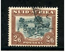 1930/36 - SUD AFRICA INGLESE - 2/6. MARRONE E VERDE - USATO - LOTTO/29110