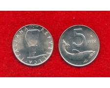 1972 - REPUBBLICA - 5 LIRE DELFINO - FIOR DI CONIO - LOTTO/M29159