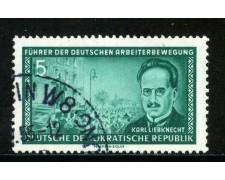 1955 - GERMANIA DDR - 5p. LIEBKNECHT - USATO - LOTTO/29194