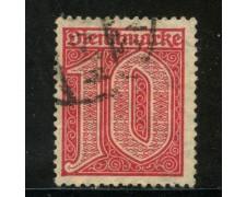 1920/21 - GERMANIA REICH SERVIZI - 10p. ROSSO - USATO - LOTTO/29240
