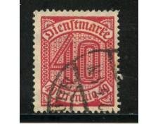 1920/21 - GERMANIA REICH SERVIZI - 40p. ROSSO - USATO - LOTTO/29243U
