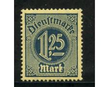 1920/21 - GERMANIA REICH SERVIZI - 1,25 m. AZZURRO - NUOVO - LOTTO/29246