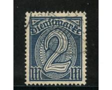 1920/21 - GERMANIA REICH SERVIZI - 2m. AZZURRO - USATO - LOTTO/29247