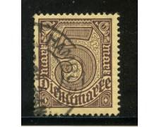 1920/21 - GERMANIA REICH SERVIZI - 5m . BRUNO - USATO - LOTTO/29248