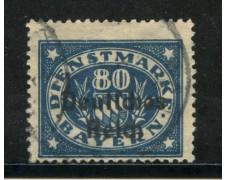 1920 - GERMANIA REICH SERVIZI - 80 p. AZZURRO - USATO - LOTTO/29256