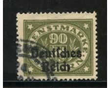 1920 - GERMANIA REICH SERVIZI - 90 p. GRIGIO OLIVA - USATO - LOTTO/29257