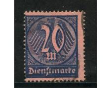 1922/23 - GERMANIA REICH SERVIZI - 20m. AZZURRO SU ROSA - USATO - LOTTO/29262