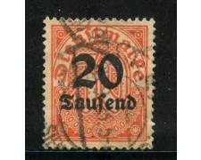 1923 - GERMANIA REICH SERVIZI - 20 su 30p. ARANCIO - USATO - LOTTO/29264