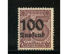 1923 - GERMANIA REICH SERVIZI - 100 su 15 p. BRUNO - NUOVO - LOTTO/29266